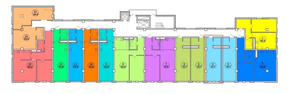 ЖК Шоколад Сочи - план 4-го этажа