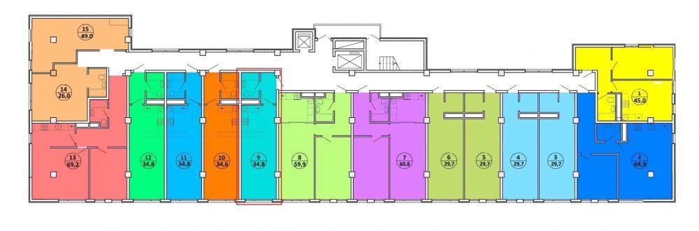 ЖК Шоколад Сочи - План 9-го этажа