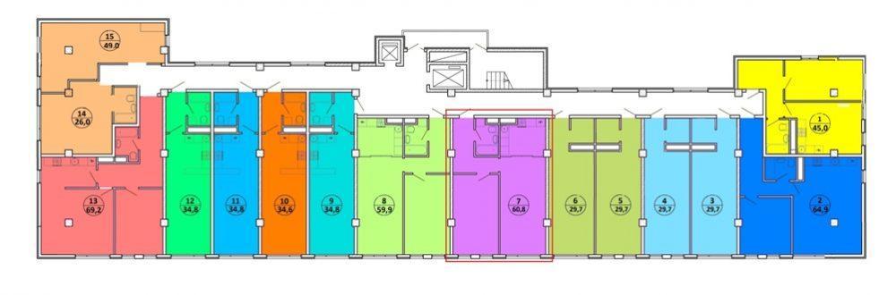 ЖК Шоколад Сочи - План 8-го этажа