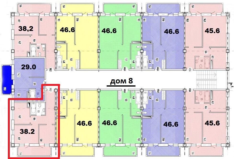 ЖК Весенний Сочи - План 7-го этажа Дом №8