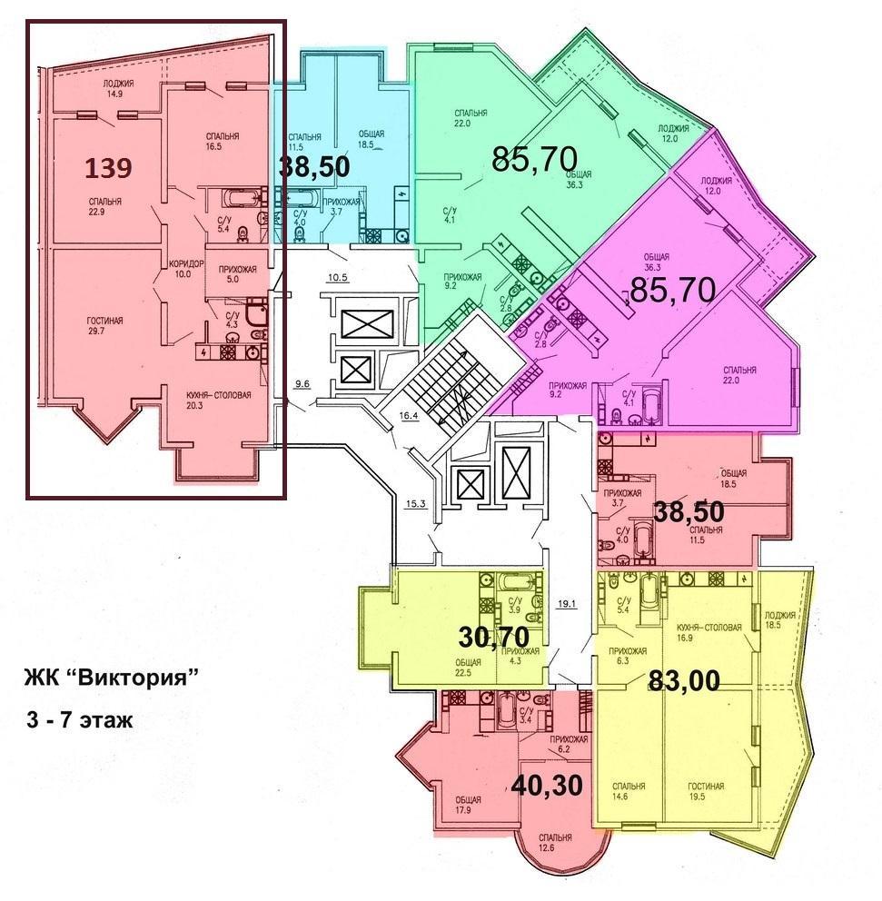 ЖК «Виктория» - План 6-го этажа