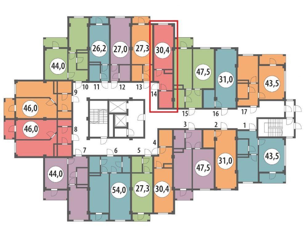 ЖК Вишнёвый парк Сочи План 10-го этажа