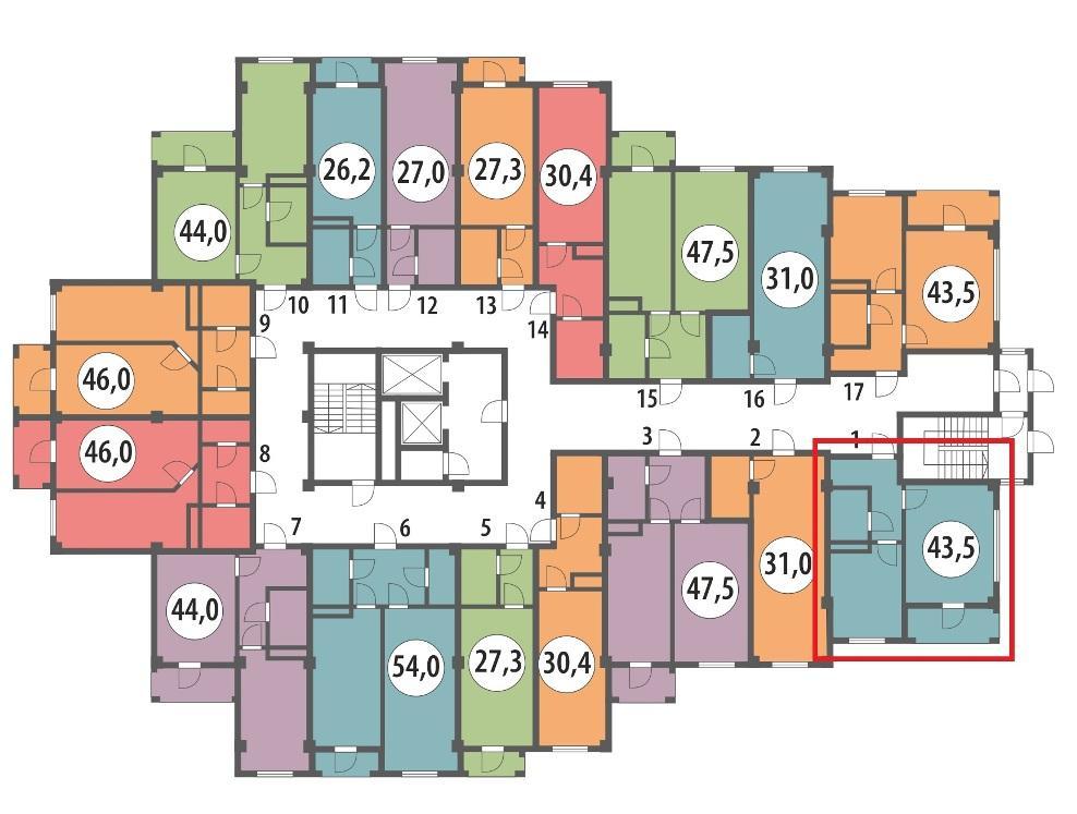 ЖК Вишнёвый парк Сочи План 2-го этажа