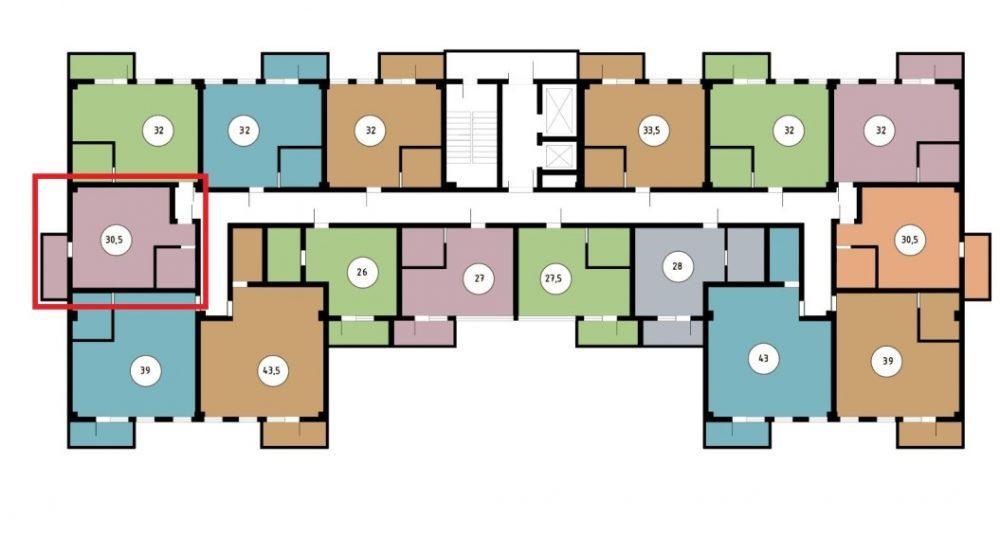 ЖК Звёздный берег Сочи - План 9-го этажа