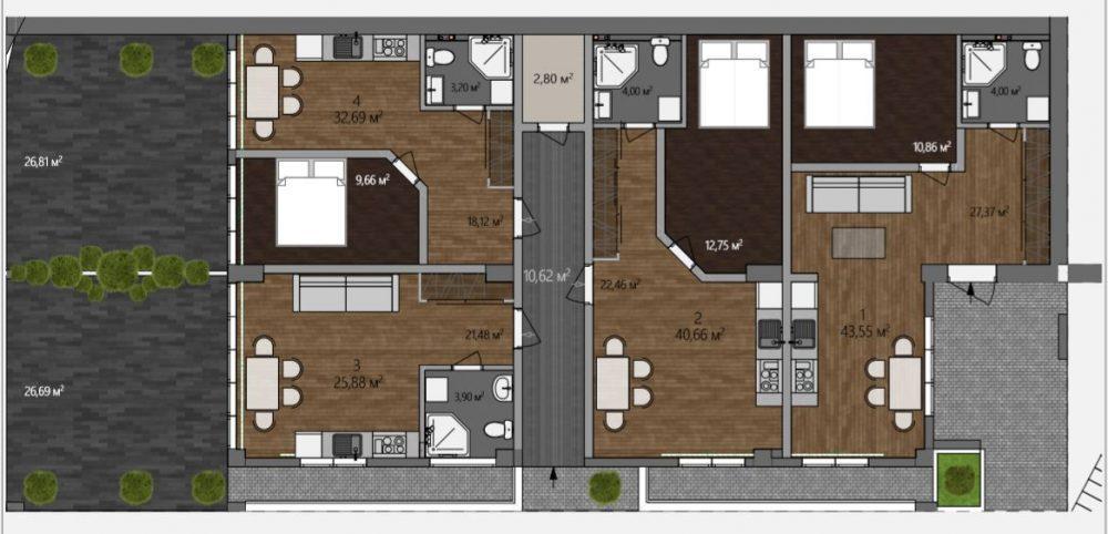 АК Морской каскад - Планировка апартаментов №1