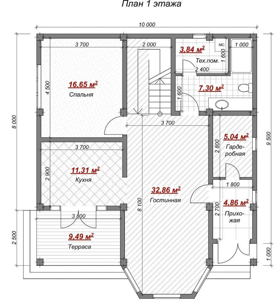 Коттедж на Пермской Сочи - План 1 этажа
