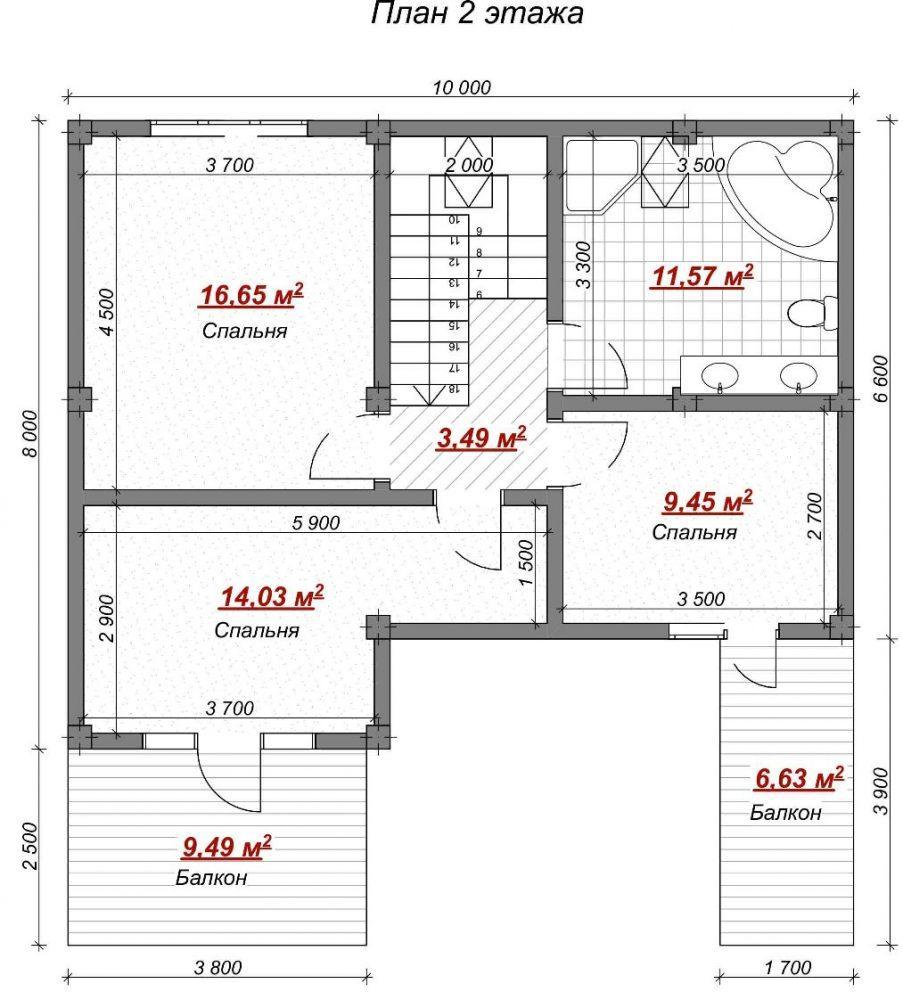 Коттедж на Пермской Сочи - План 2 этажа