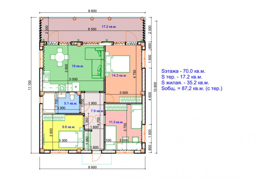 КП Альпийские луга-2 - План дома, вариант 1