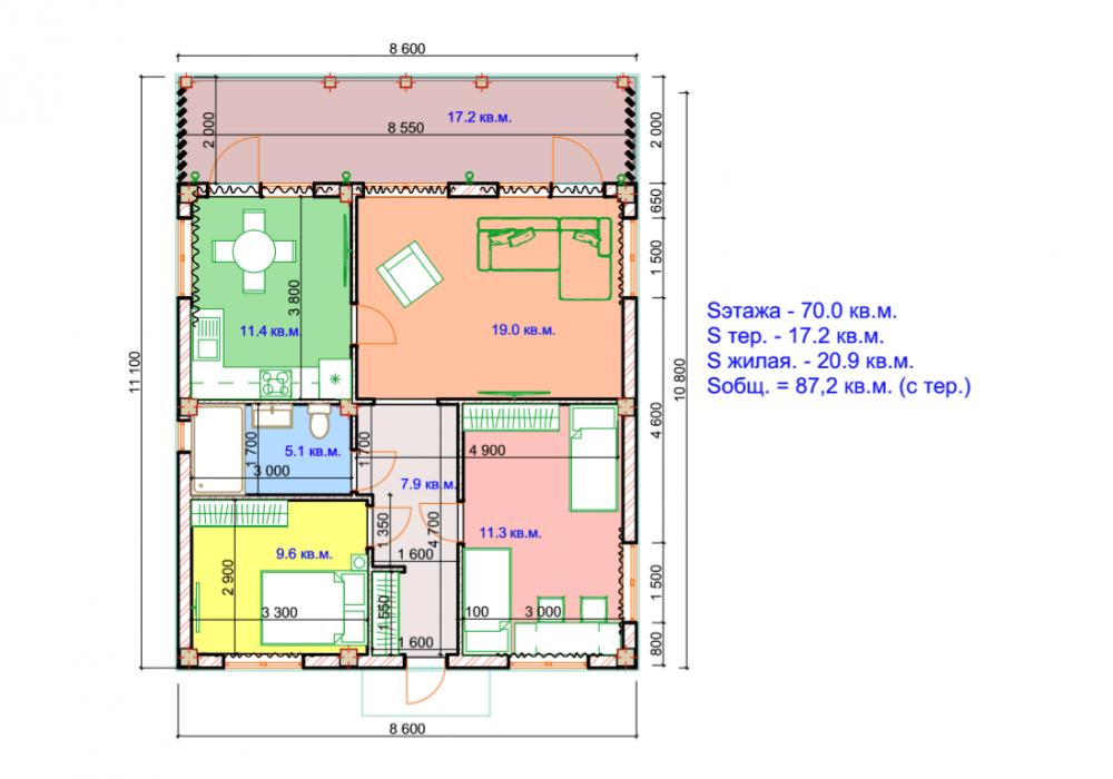 КП Альпийские луга-2 - План дома, вариант 2