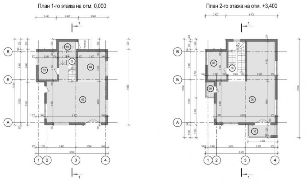 КП Близняшки Адлер - План 1 и 2 этажей