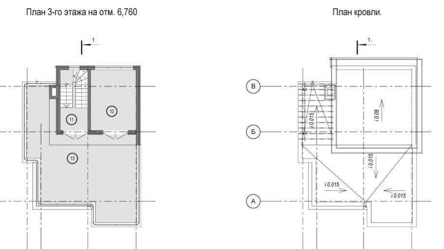 КП Близняшки Адлер - План 3 этажа и кровли