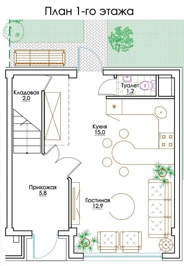 КП Изумрудный город - План 1-го этажа