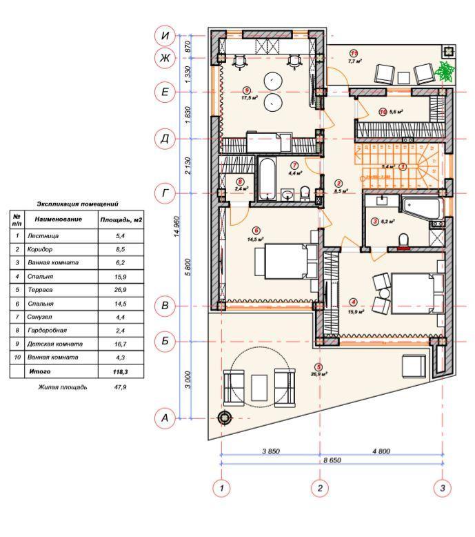 КП Коронель Вилла Сочи - План 1-го этажа