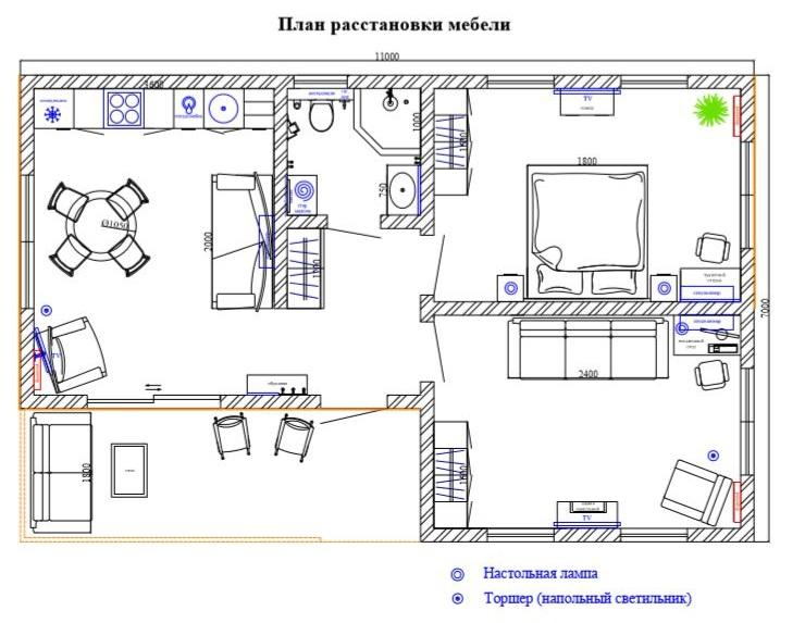 КП Николаевский дом 90 квм - Планировка. Вариант расстановки мебели