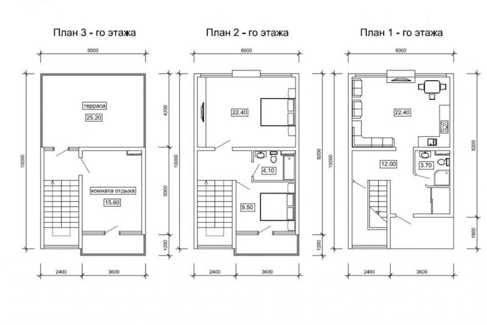 КП Русская Ривьера Сочи - Таунхаус 162 м2 - План 1,2 и 3 этажей