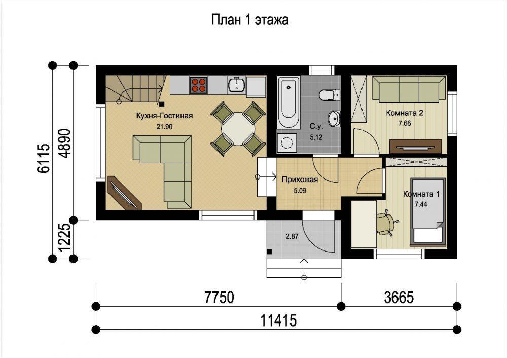 КП Седьмое небо 2 - план 1 этажа