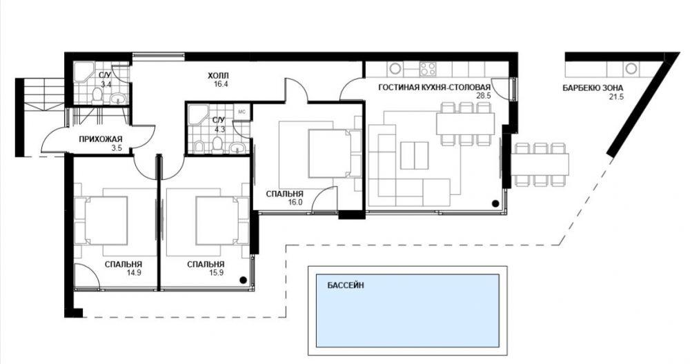 КП Вилла Стар - План дома 1 этаж