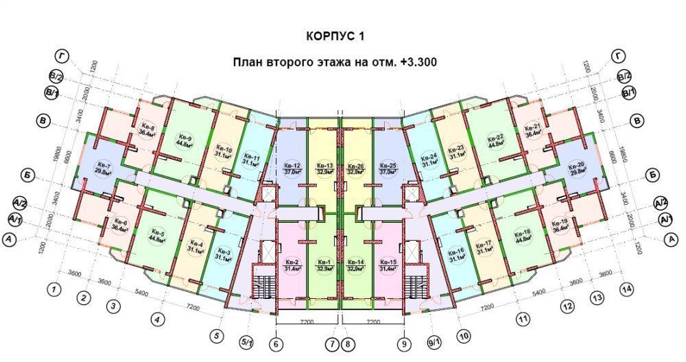 ЖК Босфор Дагомыс - План 2-го этажа, типовой