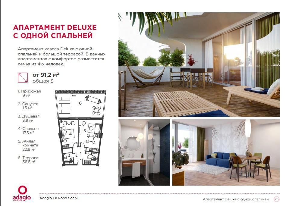 Adagio Le Rond Sochi - Апартаменты DELUX 91,2 кв.м. с одной спальней
