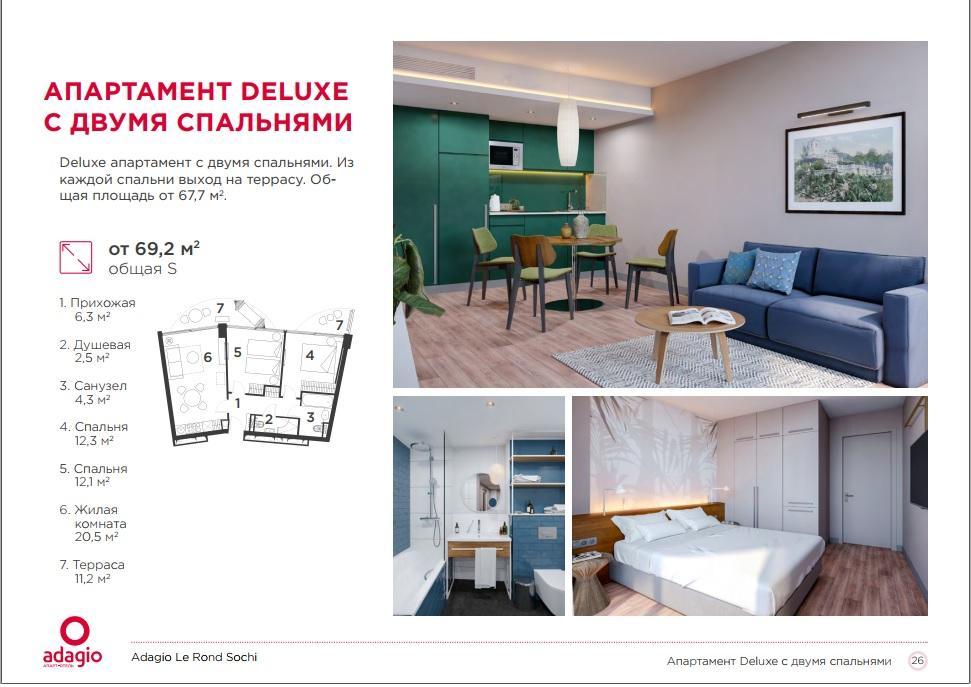 Adagio Le Rond Sochi - Апартаменты DELUX 67,7 кв.м. с двумя спальнями