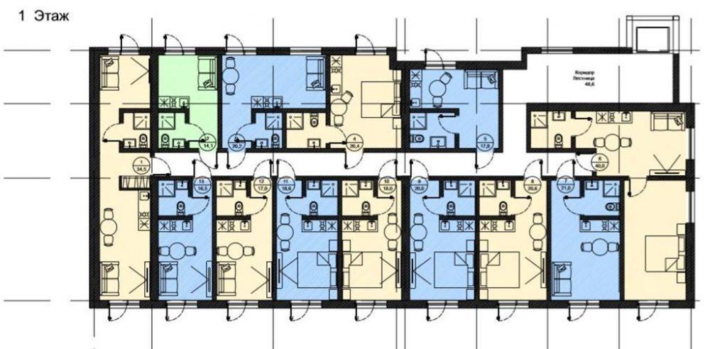 АК Роял Вью - План 1-го этажа