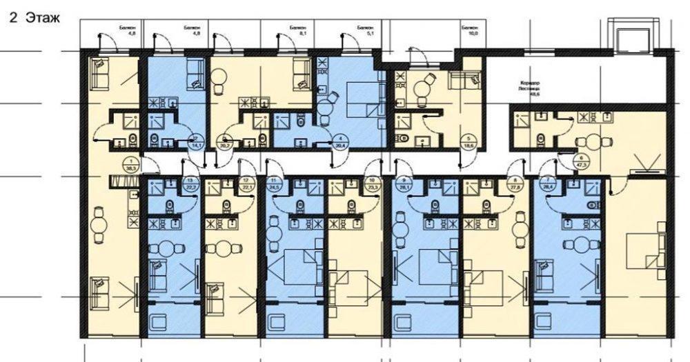 АК Роял Вью - План 2-го этажа