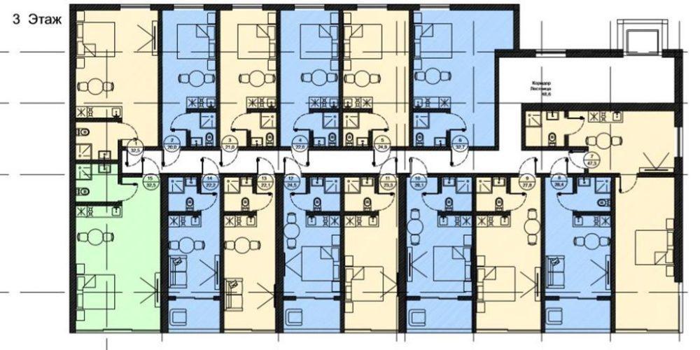 АК Роял Вью - План 3-го этажа