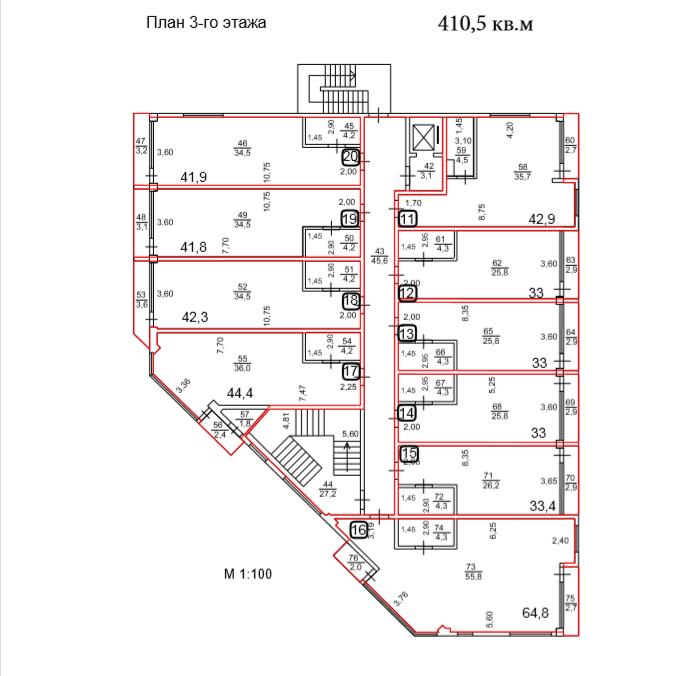 АК Взморье Лазаревское Сочи - План 3-го этажа