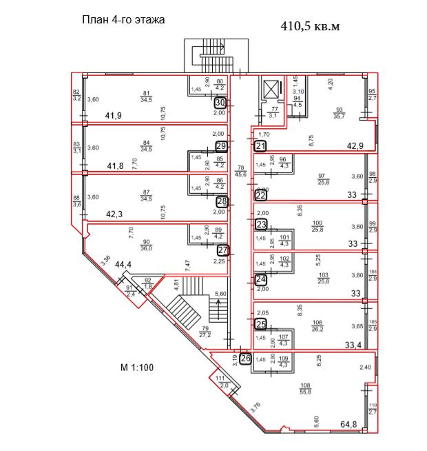 АК Взморье Лазаревское Сочи - План 4-го этажа