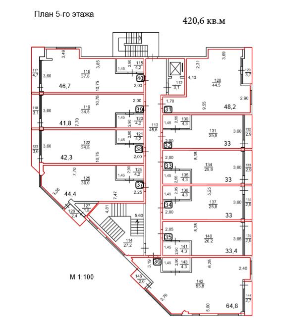АК Взморье Лазаревское Сочи - План 5-го этажа