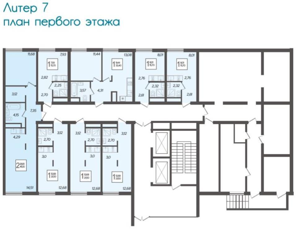 ЖК Кислород 1-й этаж Литер 7