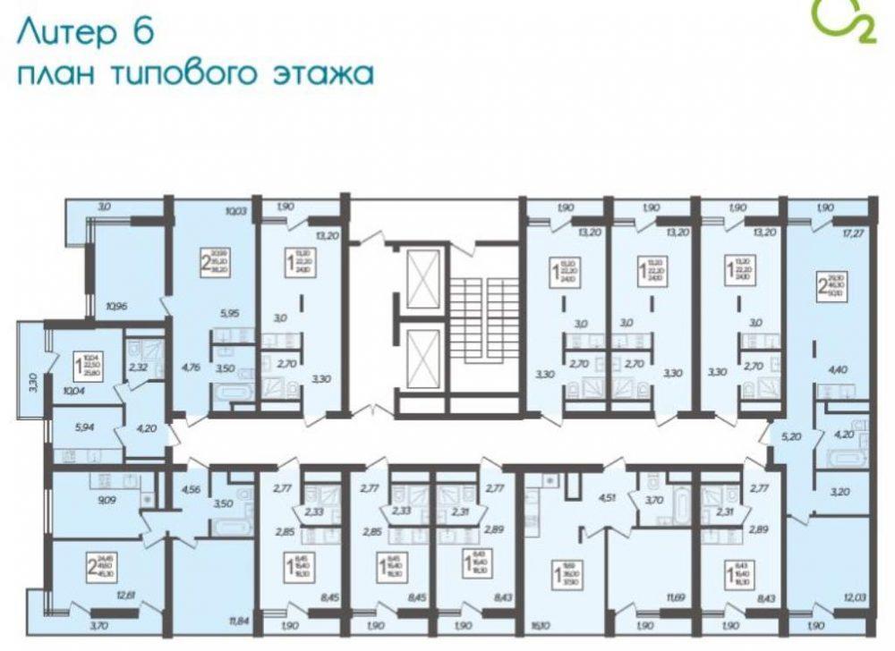 ЖК Кислород типовой этаж Литер 6