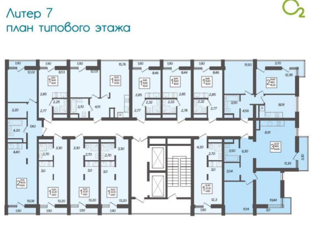 ЖК Кислород типовой этаж Литер 7