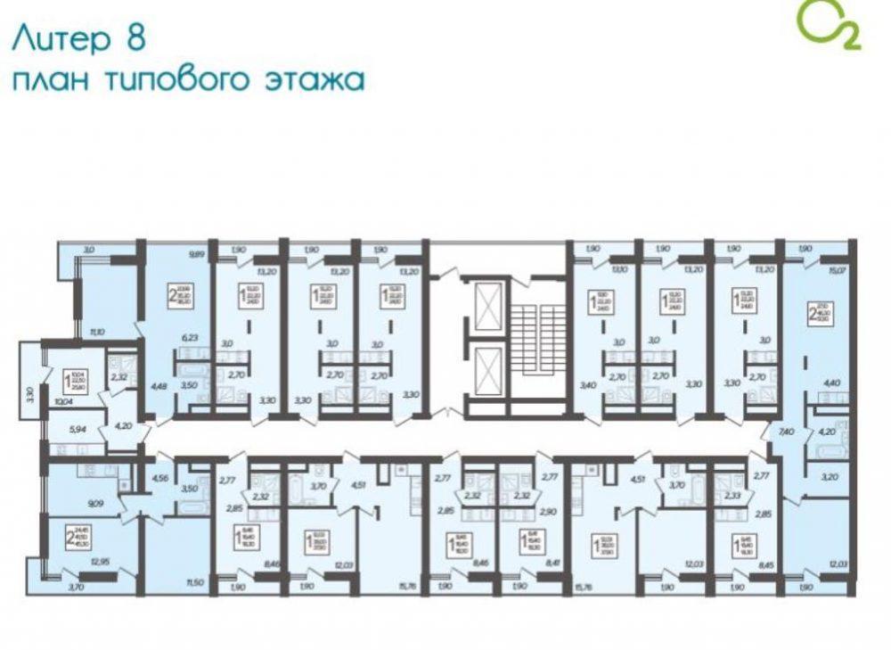 ЖК Кислород типовой этаж Литер 8