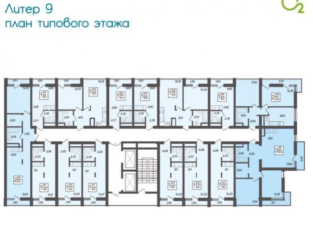 ЖК Кислород типовой этаж Литер 9