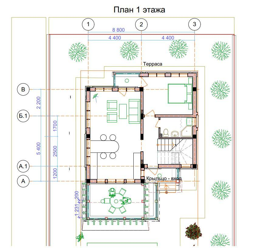 Коттедж на Блинова в Адлере - План 1-го этажа