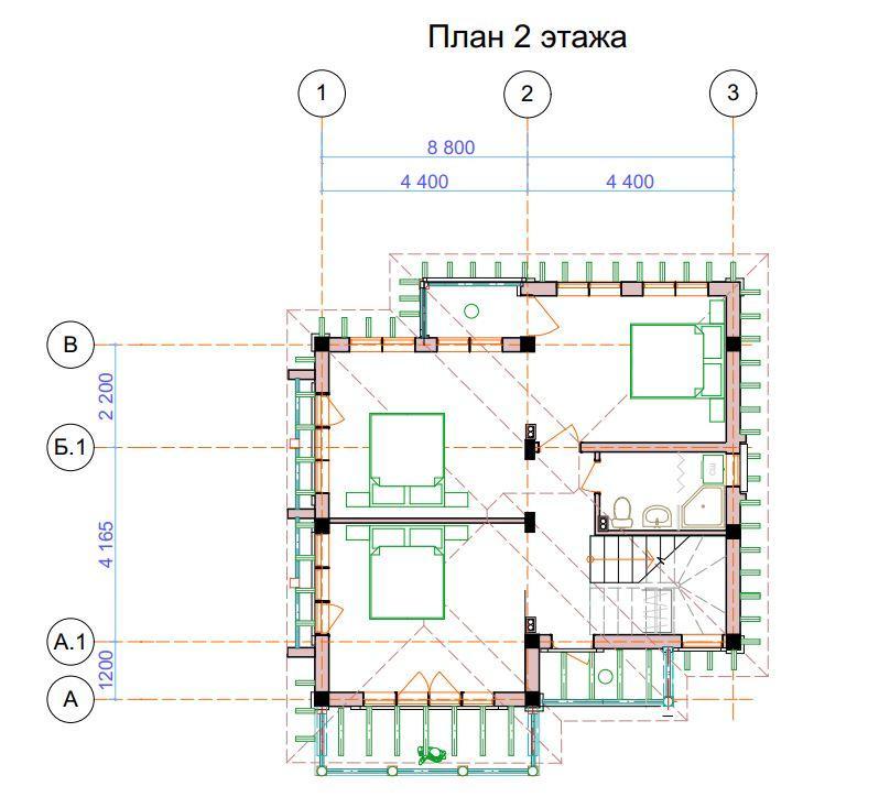 Коттедж на Блинова в Адлере - План 2-го этажа