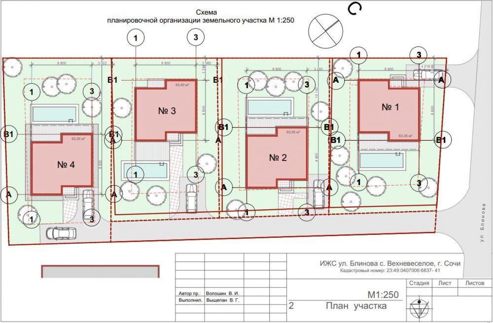 План застройки коттеджного посёлка на Блинова