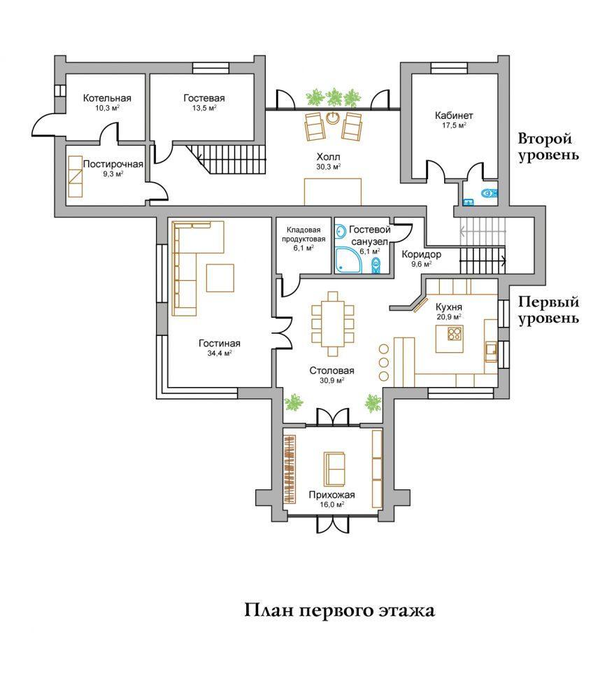 КП Горное озеро - План №1 Этаж 1