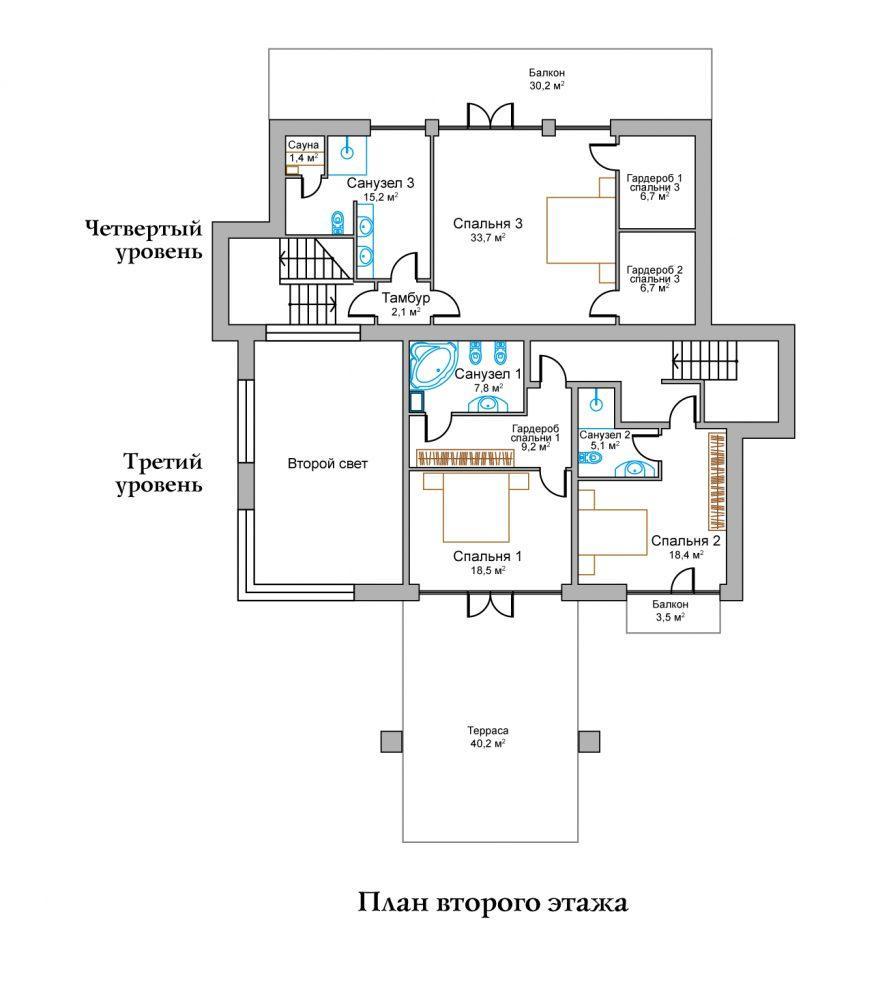 КП Горное озеро - План №1 Этаж 2