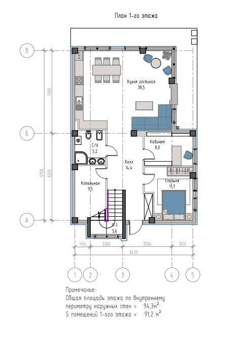 КП Лесной вернисаж - План 1-го этажа, дом 200 м2