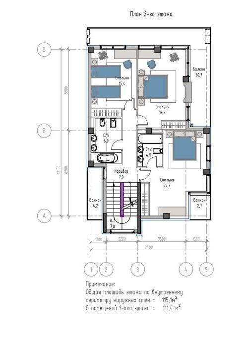 КП Лесной вернисаж - План 2-го этажа, дом 200 м2