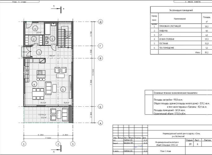 КП Звёздный Хоста - План 1-го этажа