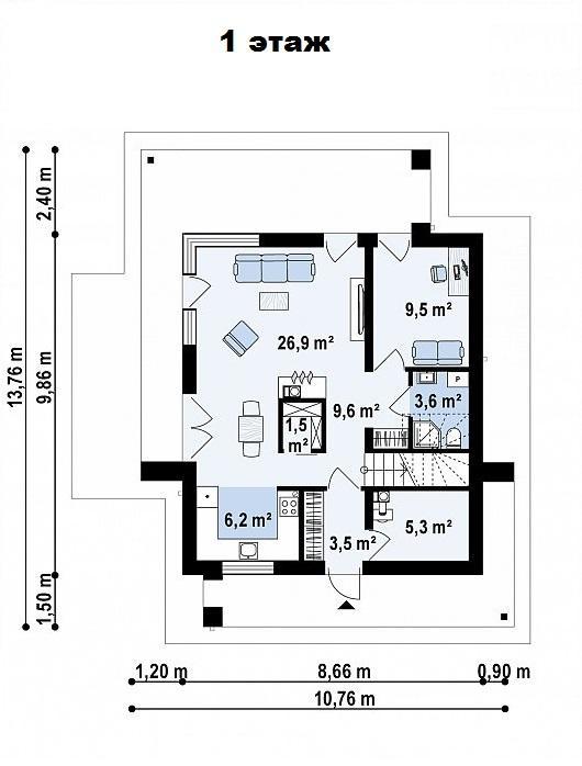 Дом в Сочи - План 1 этажа