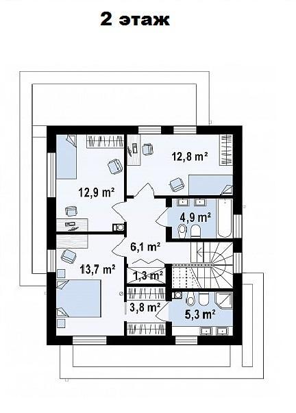 Дом в Сочи - План 2 этажа