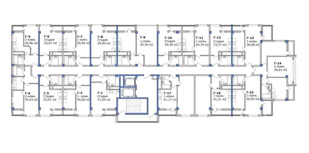 ЖК Южный парк Сочи Корпус Г типовой план этажа
